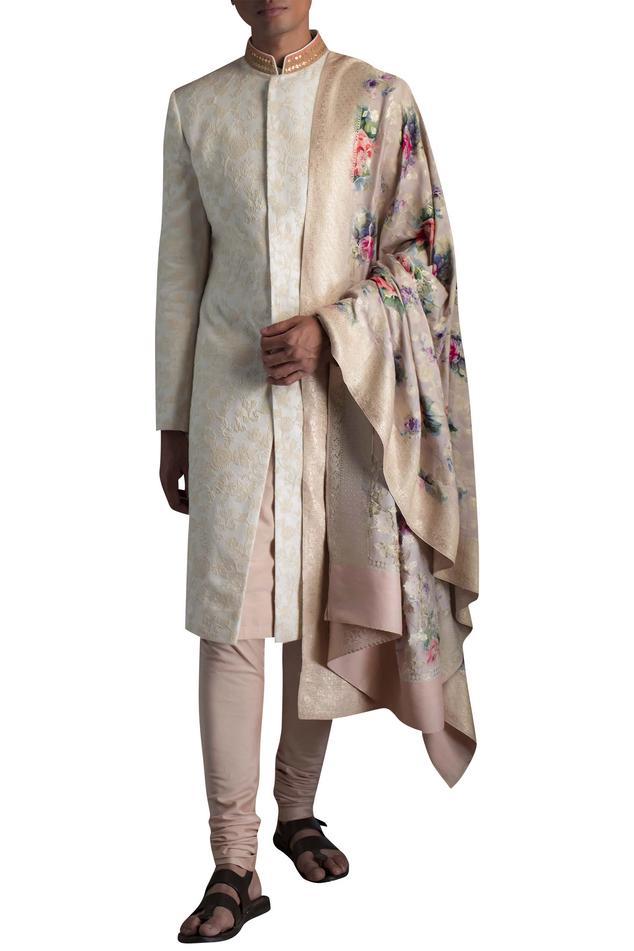 Linen Embroidered Sherwani Set