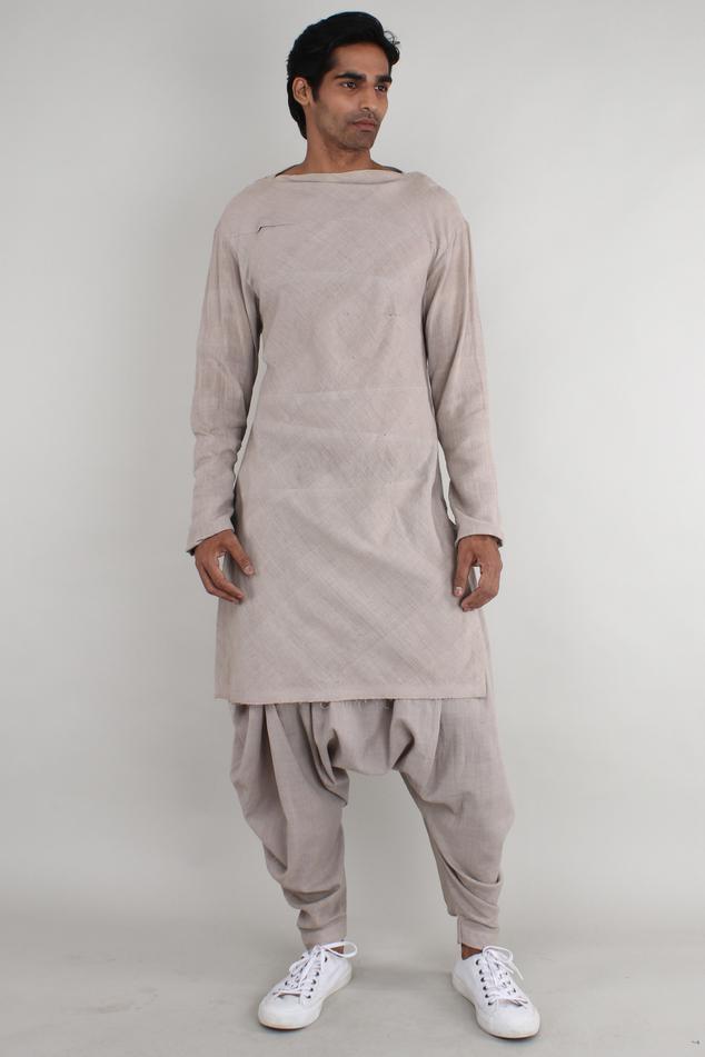Handwoven cotton draped pants