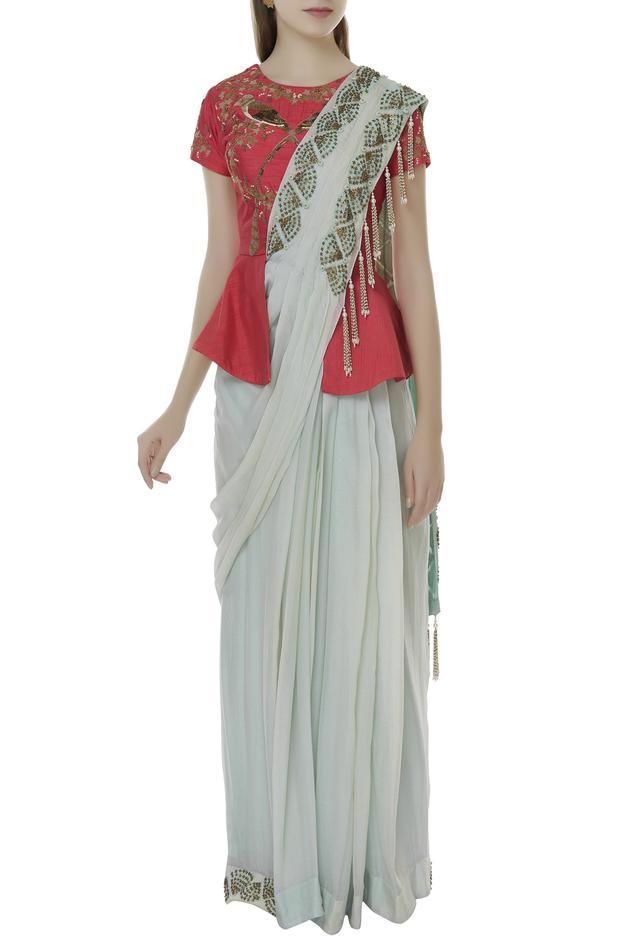 Pre-draped skirt saree & blouse