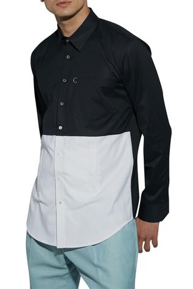Stand and fall collar shirt