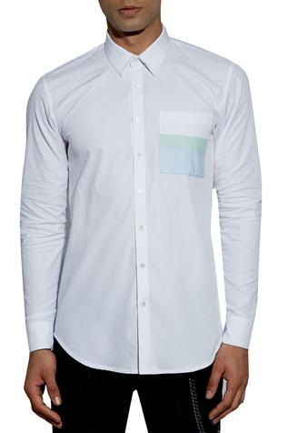 Stand and fall collar shirt