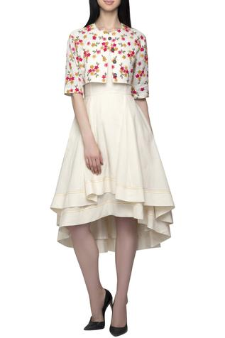 Embroidered Jacket with Dress