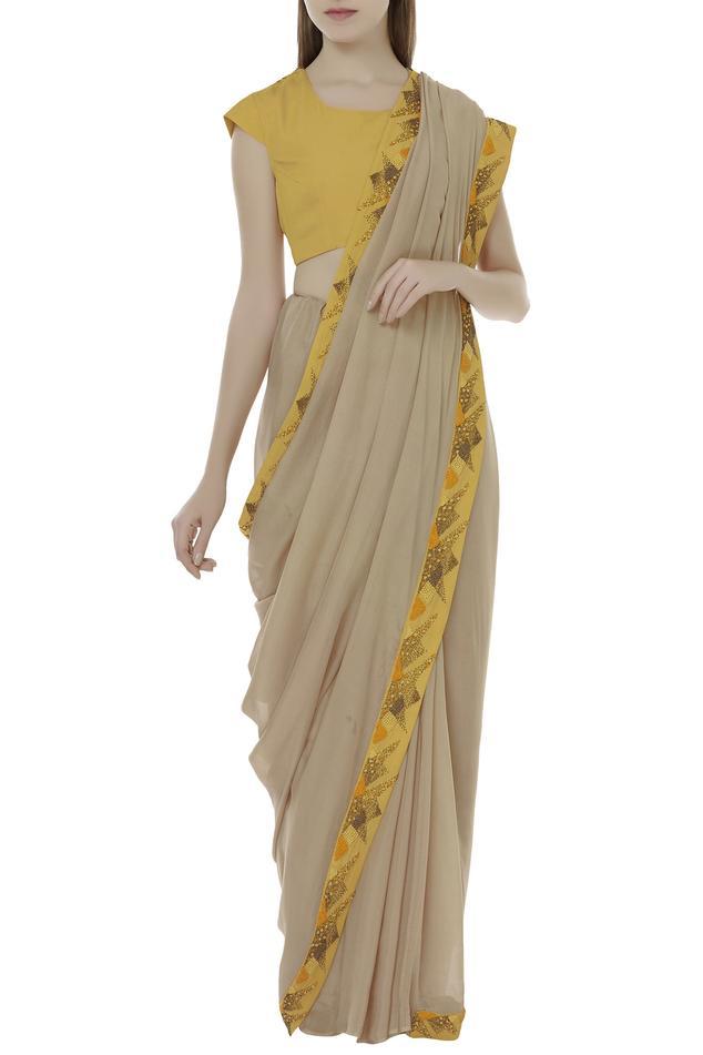 Embroidered blouse saree set