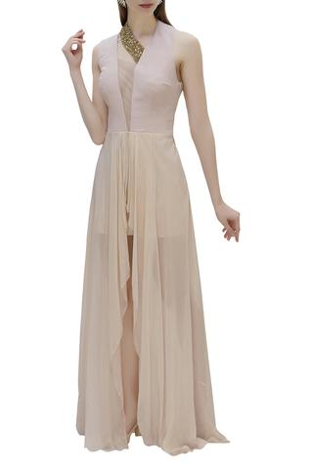 Asymmetric Flared Gown
