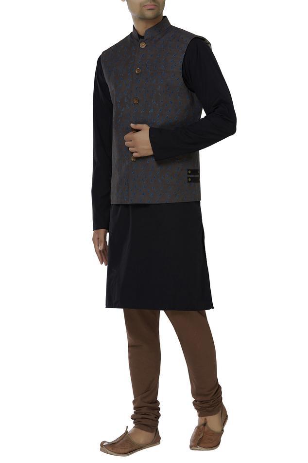 Handwoven organic cotton Nehru jacket