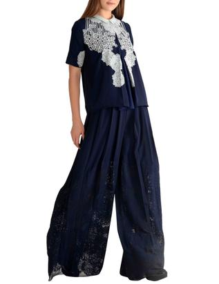 Applique embroidered palazzo pants