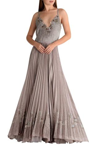 Embroidered Pleated Gown