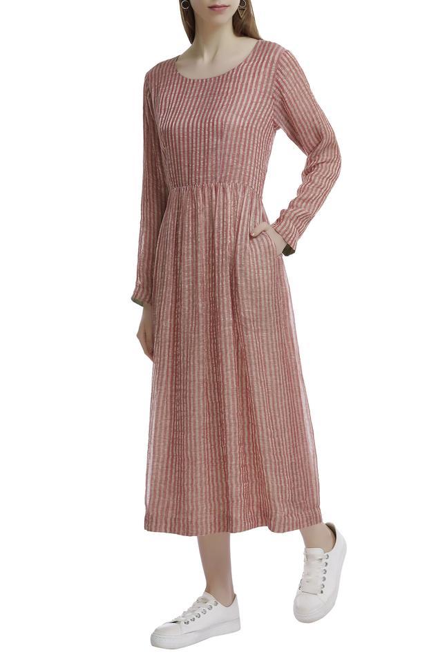 Linen Zari Striped Dress