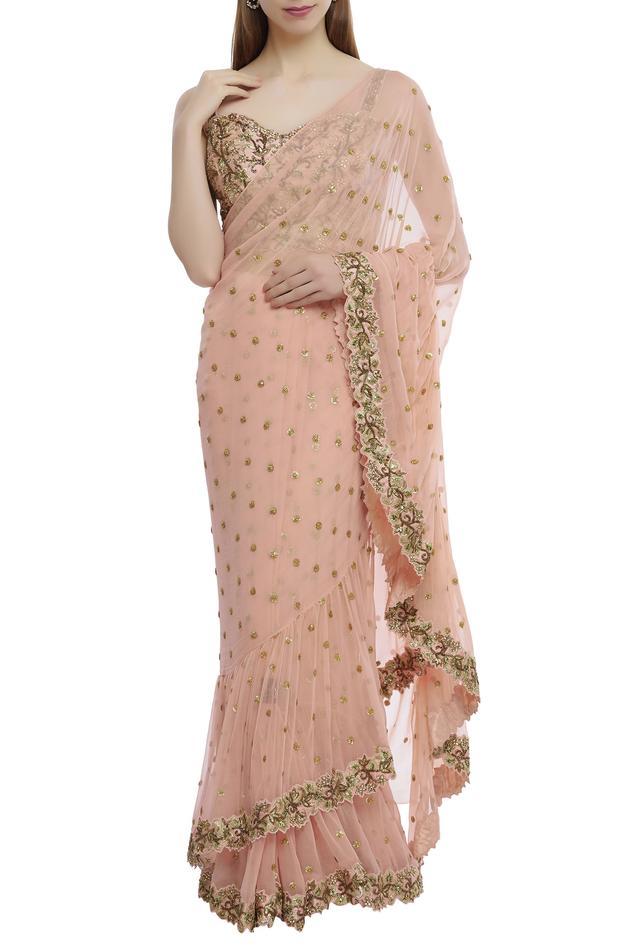 Ruffled Embroidered Saree Set
