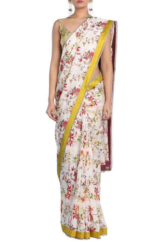 Chanderi Floral Print Saree