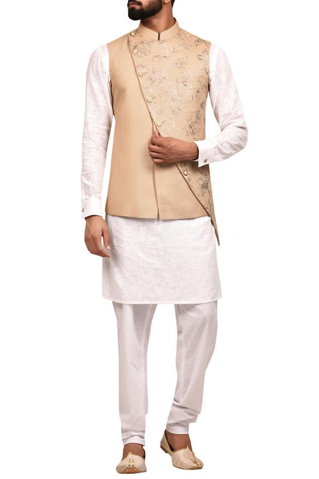 Overlap Floral Print Nehru Jacket