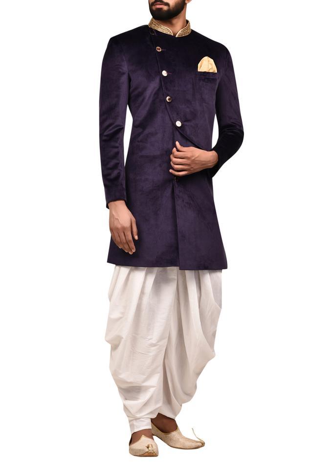 Overlap Sherwani with Draped Pants