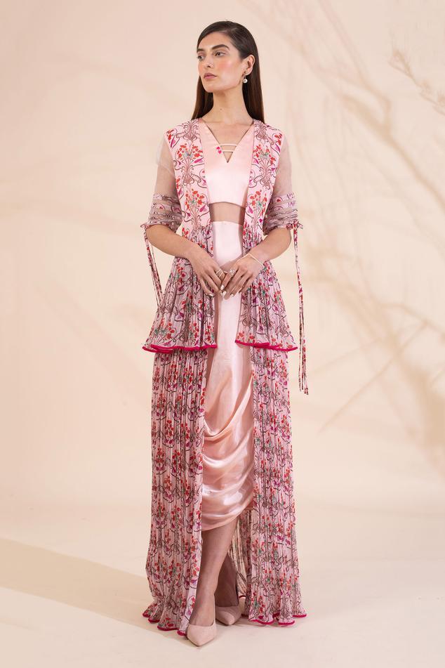 Draped dress with jacket