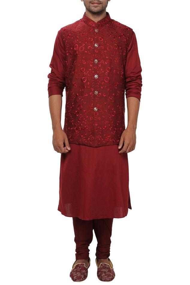 Cotton Silk Embroidered Bundi & Kurta Set
