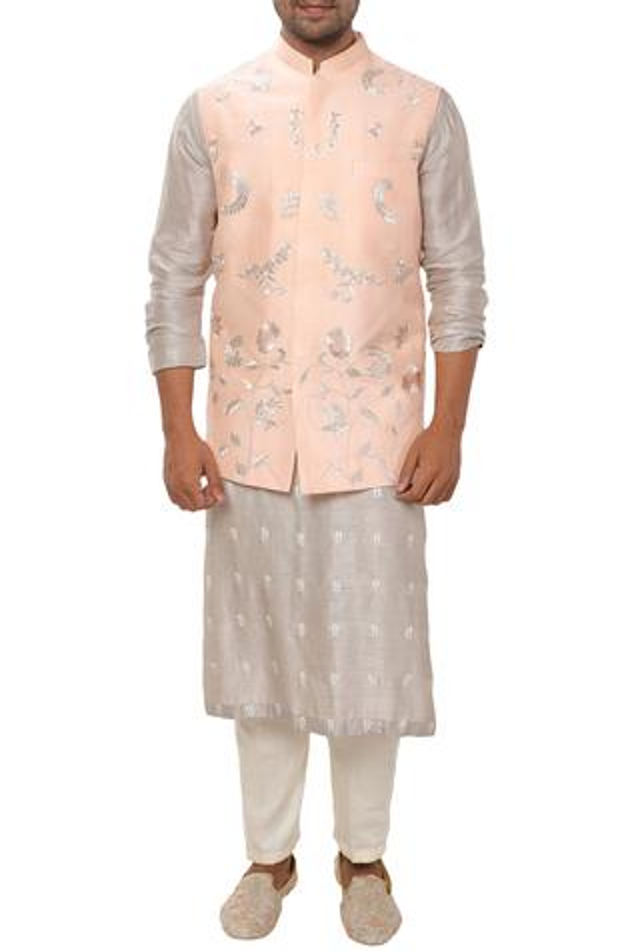 Cotton Silk Embroidered Bundi Kurta Set
