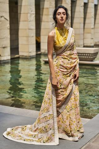 Printed Saree with Chanderi Blouse