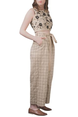 Checkered Tie-up Trousers
