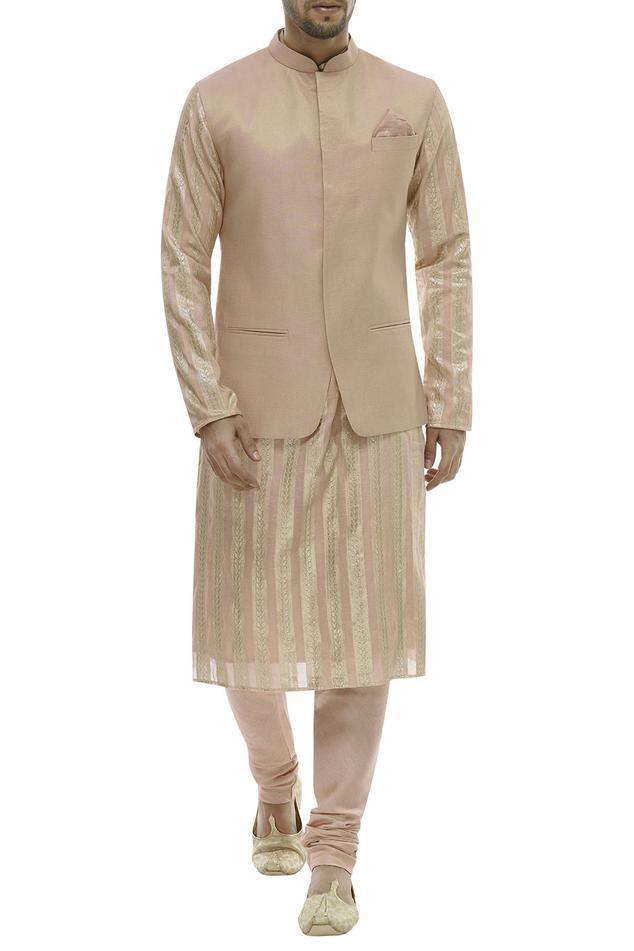 Chanderi Kurta & Nehru Jacket Set
