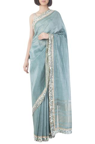 Linen Silk Saree with Unstitched Blouse Fabric