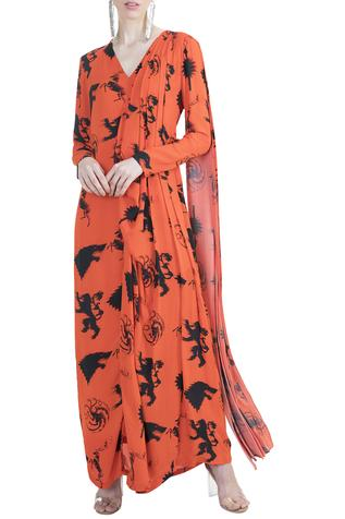 Printed Saree Gown