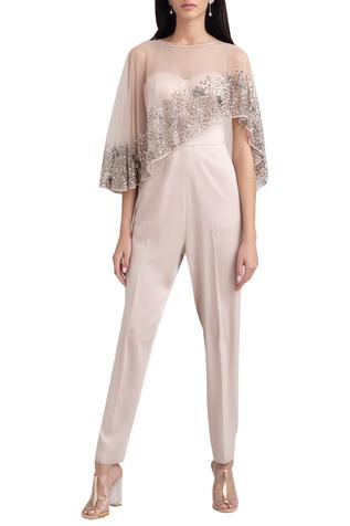 Embellished Cape Jumpsuit