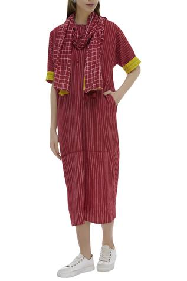 Striped Dress with Scarf