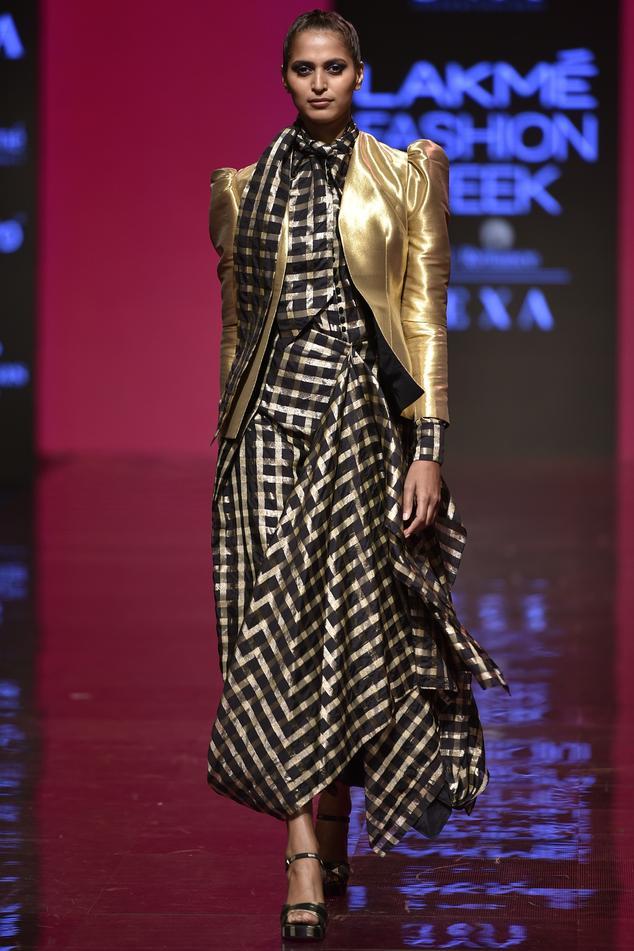 Chanderi Checkered Skirt Set