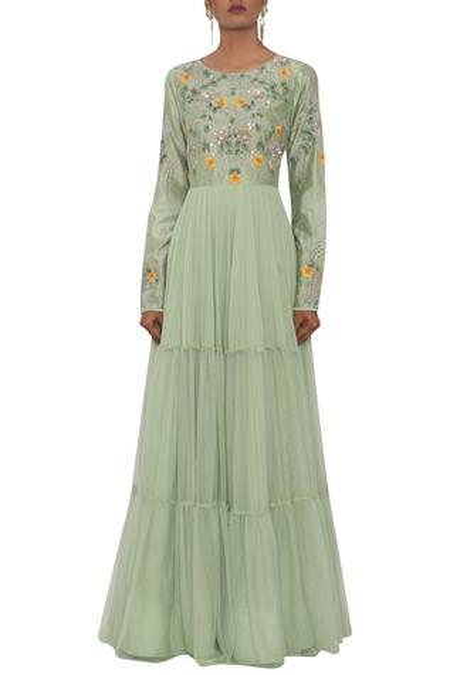 Chanderi Tiered Gown