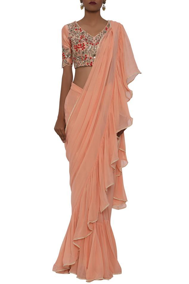 Pre-Draped Saree Set