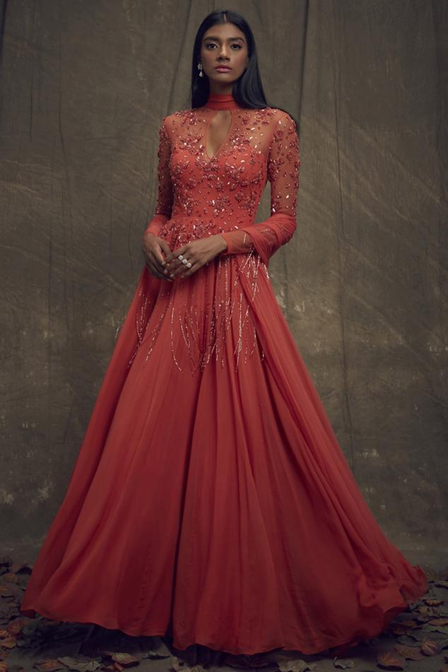 Embellished Anarkali Gown with Dupatta