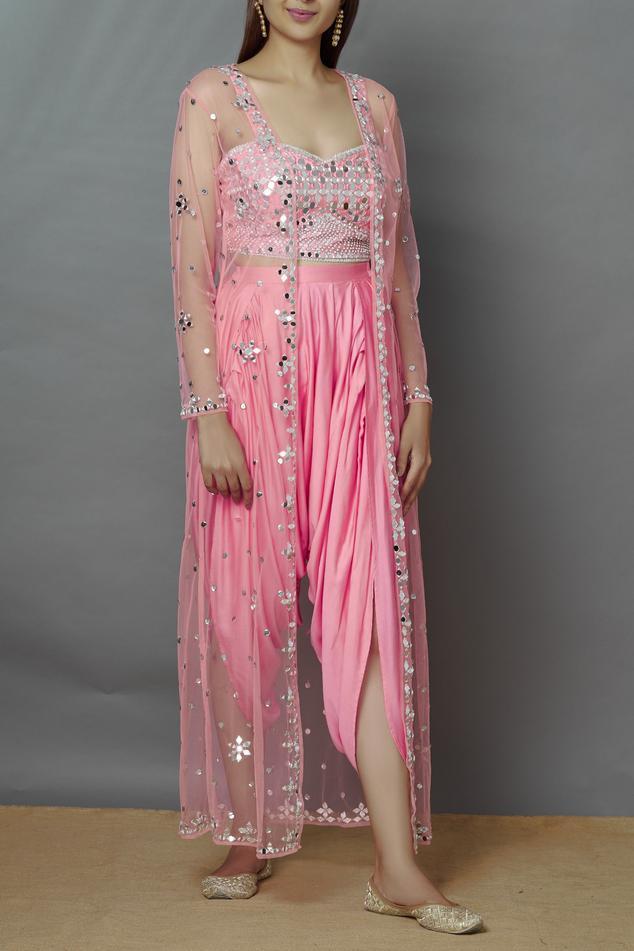 Embellished Jacket Dhoti Pant Set