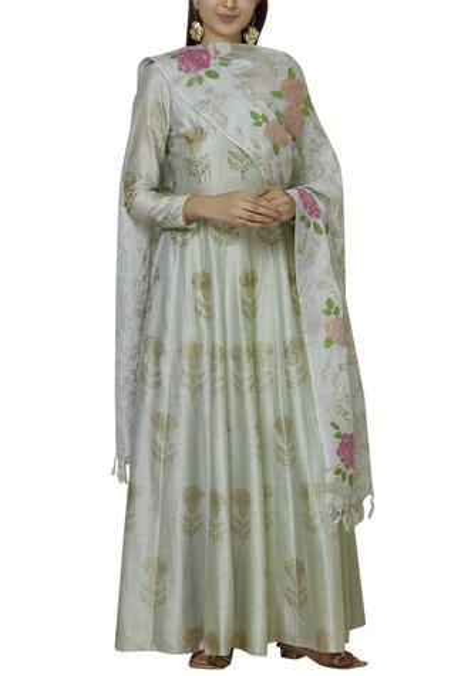 Silk Chanderi Anarkali with Dupatta