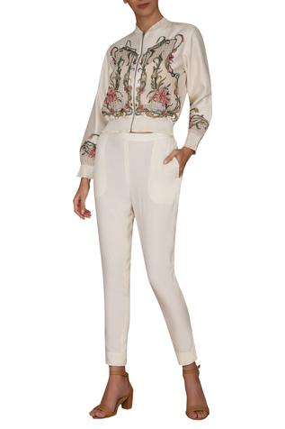 Chanderi Embroidered Jacket Pant Set