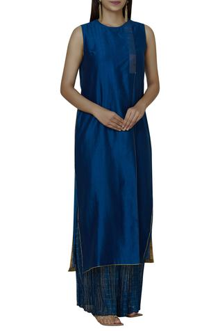 Chanderi Silk Sleeveless Kurta