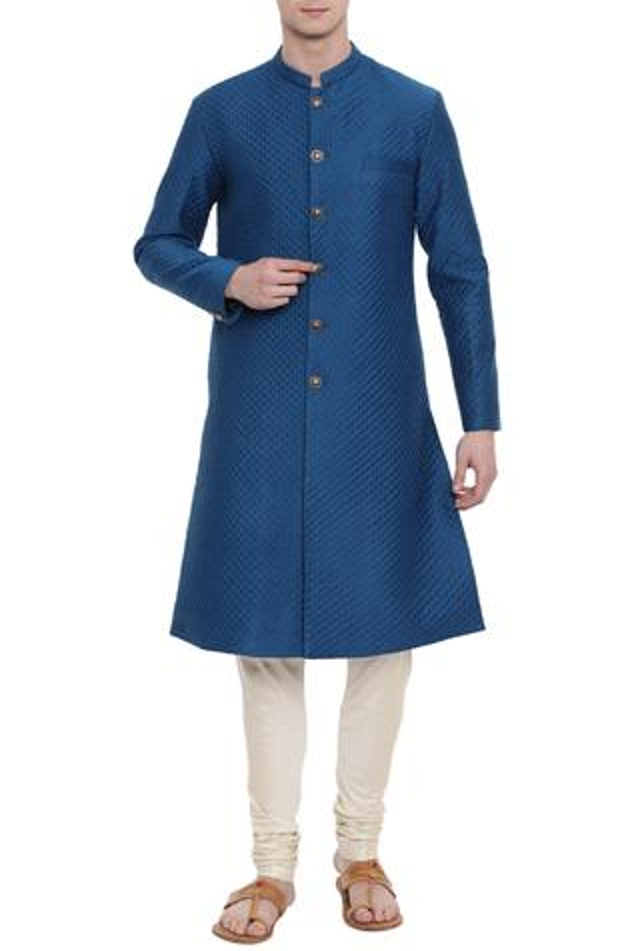 Linen Quilted Sherwani Set