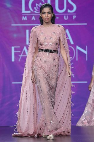Embroidered Cape Gown