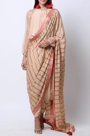 Embroidered Dhoti Saree with Blouse