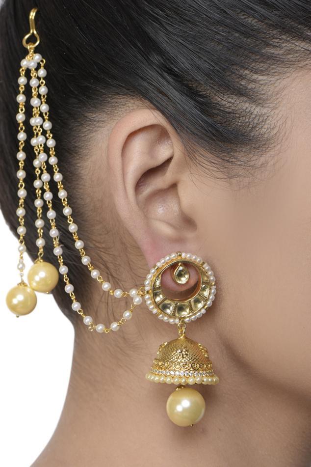 Bead Jhumkas with Ear Chain