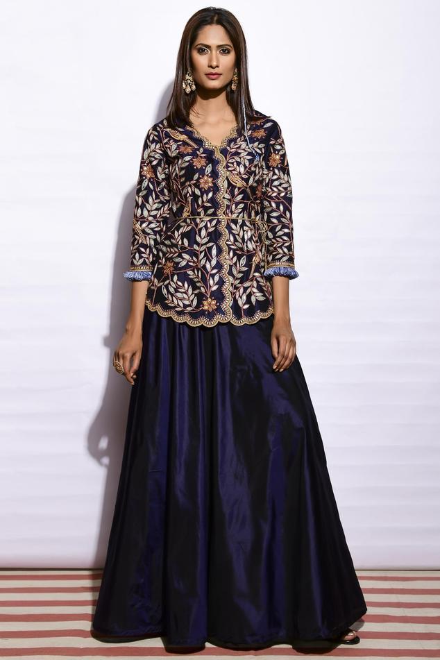 Embroidered Kurta Skirt Set