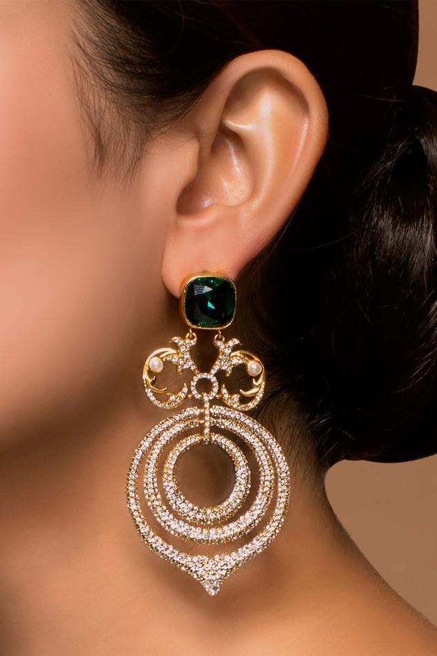 Tarun Tahiliani Crystal Chandelier Earrings