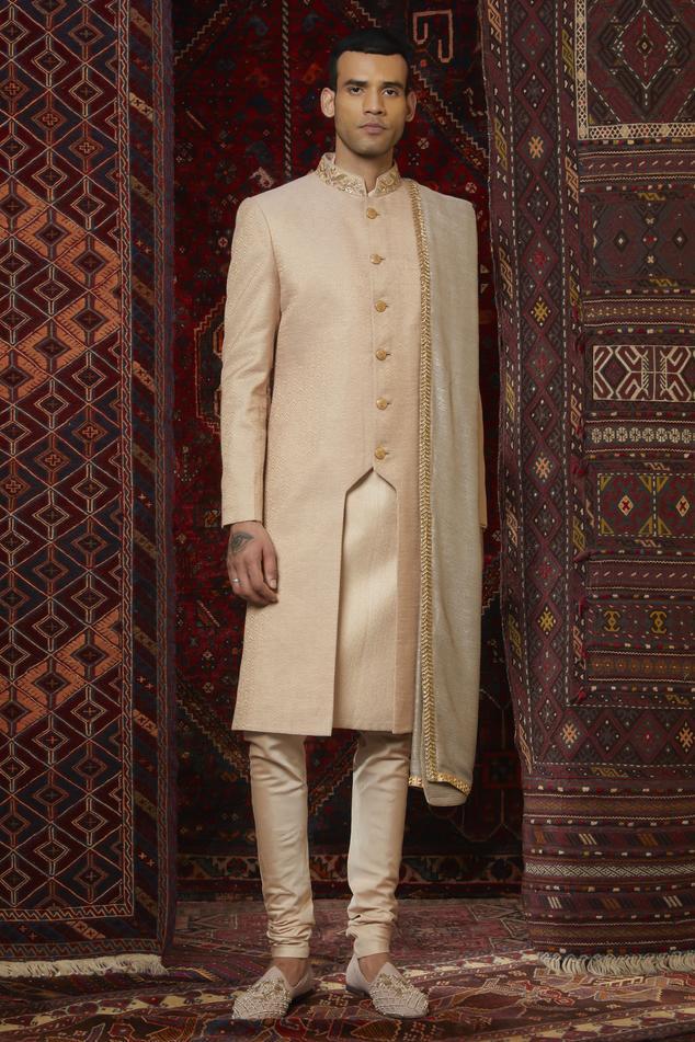 Silk Textured Sherwani Set
