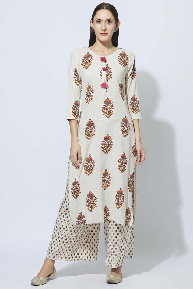 Cotton Floral Print Kurta & Palazzo Set