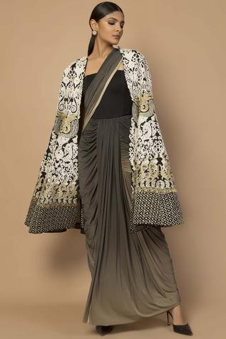 Embroidered Long Cape
