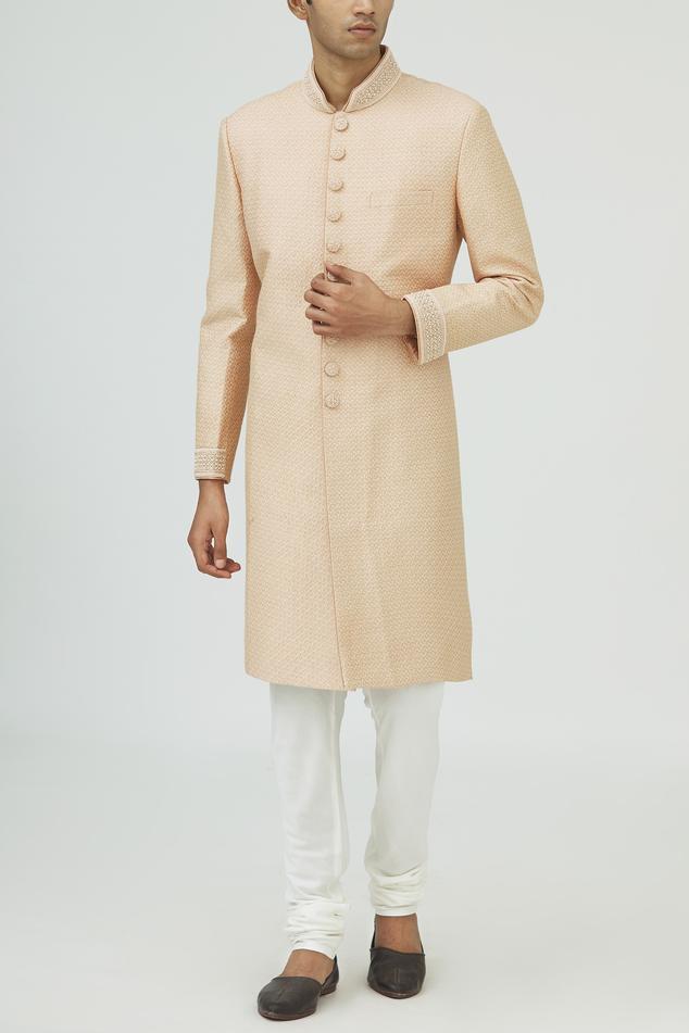 Jacquard Silk Sherwani Set