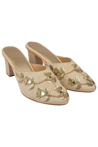 Embroidered Heel Mules