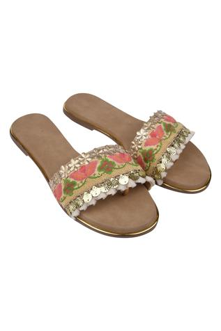 Embroidered Floral Sliders