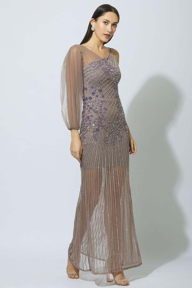 Embellished One Shoulder Gown