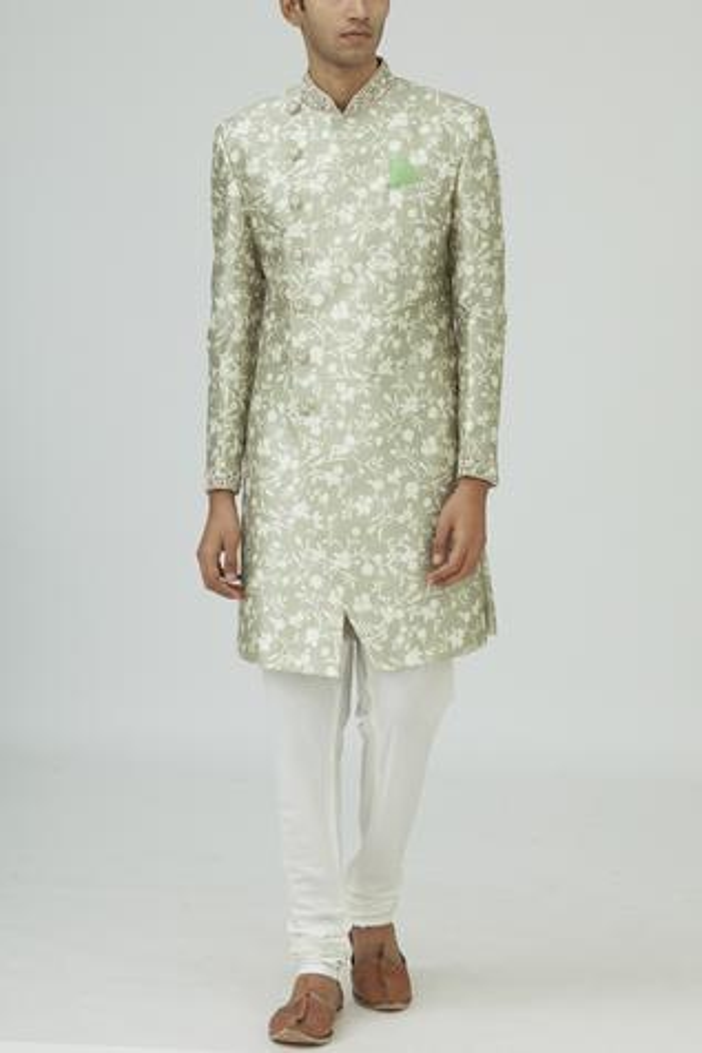 Silk Overlap Sherwani Set