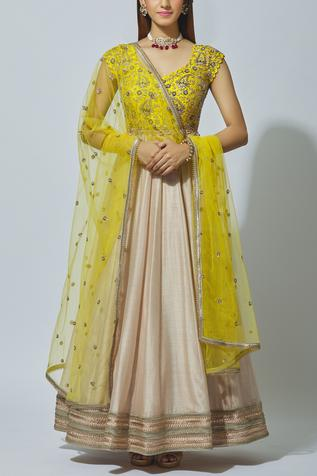 Chanderi Anarkali with Dupatta