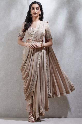 Embroidered Pre-Draped Saree with Blouse
